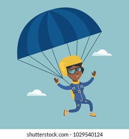 African-american skydiver flying with a parachute. Young happy skydiver descending with a parachute in the sky. Sport and leisure activity concept. Vector cartoon illustration. Square layout.