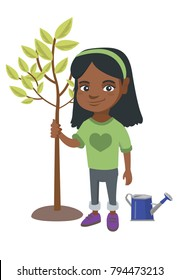 African-american smiling girl planting a tree. Eco-friendly girl standing near newly planted tree and watering can. Vector sketch cartoon illustration isolated on white background.