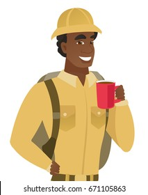 African-american smiling traveler holding cup of coffee. Young smiling traveler drinking coffee. Happy traveler with cup of coffee. Vector flat design illustration isolated on white background.