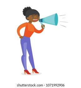 African-american speaker holding a megaphone. Promoter advertising using a speaker. Business woman speaking into megaphone. Social media marketing concept. Vector cartoon illustration. Square layout.