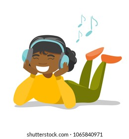 African-american woman in headphones laying on the floor and listening to music. Relaxed woman with closed eyes enjoying music. Vector cartoon illustration isolated on white background. Square layout.