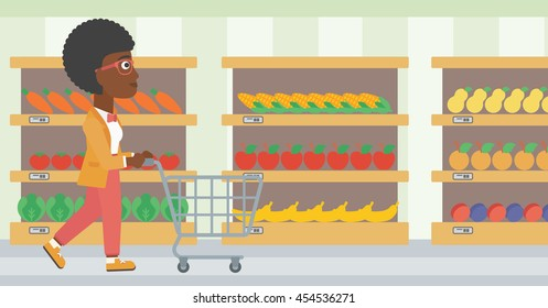 Supermarket Aisle With Shopping Cart Stock Vectors Images Vector Art Shutterstock