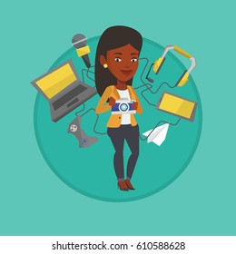 African-american woman taking photo with digital camera. Woman using many electronic gadgets. Woman addicted to modern gadgets. Vector flat design illustration in the circle isolated on background.