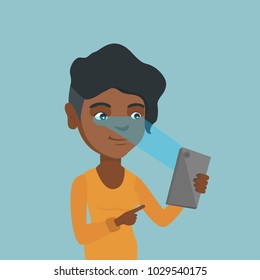 African-american woman using a smart mobile phone with retina scanner. Young woman using iris scanner to unlock her mobile phone. Vector cartoon illustration. Square layout.
