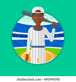 An african-american young baseball player standing on a baseball stadium. Female professional baseball player holding a bat. Vector flat design illustration in the circle isolated on background.
