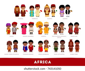 Africans in national clothes. Africa. Set of cartoon characters in traditional costume. Cute people. Vector flat illustrations.