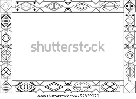 Africantribalart Patterns Frame Black White Colors Stock Vector