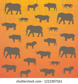 Africa's Big Five animals: Elephant, Lion, Leopard, Rhino and Buffalo. Safari stylised background.