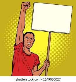 Afrikan man protests with a poster. Pop art retro vector illustration vintage kitsch drawing