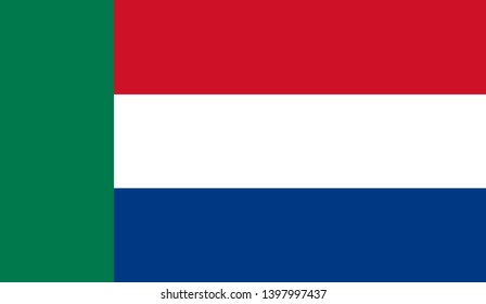 Afrikaners people ethnic (Transvaal Republic) flag vector icon