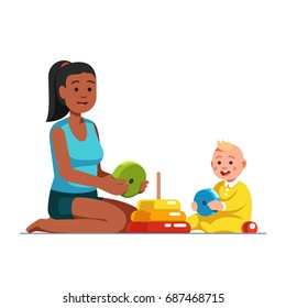 Afro American babysitter or stepsister playing educational game together with baby boy, building stack up ring pyramid toy. Multi-ethnic family mom & toddler son. Flat vector isolated illustration.
