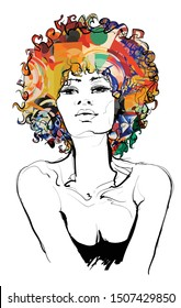 Afro american beautiful girl - vector illustration (Ideal for printing on fabric or paper, poster or wallpaper, t-shirt, house decoration)