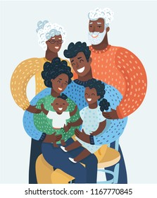 Afro american or black happy cartoon family with mother, father, grandfather grandmother or curly hair grandma, or grandpa, daughter, kid, baby, child. Group family portrait, smiling mom, parent care.