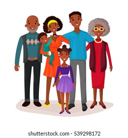 Afro american or black happy cartoon family with mother and grandmother or curly hair grandma, grandfather or grandpa, daughter and kid or baby, child.Group portrait with smiling mom, parent care logo