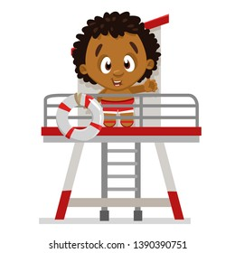 Afro american boy standing on lifeguard tower with flotation ring. Cute boy looking from beach stand in summer. Young rescuer. Cartoon vector illustration isolated on white background.