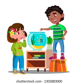 Afro American Boy And White Girl Whatch And Feed Fish In Aquarium Together Vector. Isolated Illustration