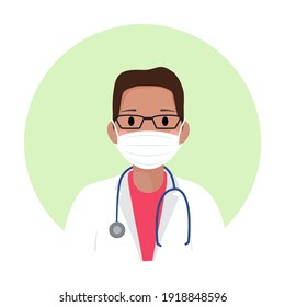 Afro american doctor avatar in medical protective mask against covid-19. Black doctor with glasses, stethoscope and in white coat. Web site or app mobile profile icon. Professional profile, man icon.