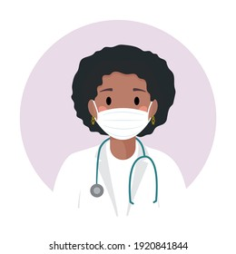 Afro american doctor in medical protective mask against covid-19. Black young nurse with stethoscope and in white coat. Professional avatar, profile, woman icon. Portrait for web site, mobile app.
