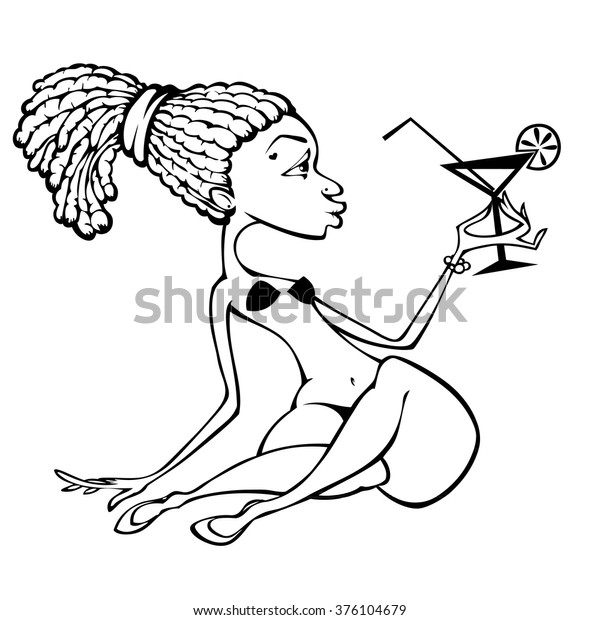 - Afro American Girl Bikini Drinking Cocktail Stock Vector (Royalty Free)  376104679