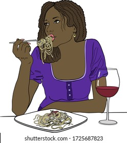 Afro american girl eat spaghetti with glass of wine. Hand drawn vector illustration of pretty african american woman eats paste, large plate of instant noodles. Isolated on white background. Cartoon