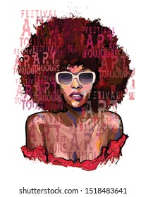 Afro american girl with sunglasses on grunge letters background - vector illustration (Ideal for printing on fabric or paper, poster or wallpaper, house decoration) Portrait totally fictitious