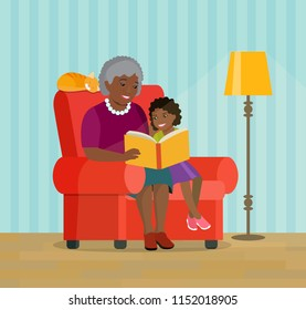 Afro american grandmother and granddaughter are sitting in a chair. Grandmother is reading a book to her granddaughter.  Vector flat style illustration