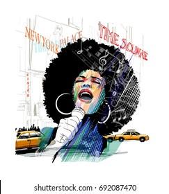 Afro american jazz singer in New York - vector illustration