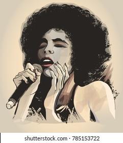 Afro american jazz singer - vector illustration