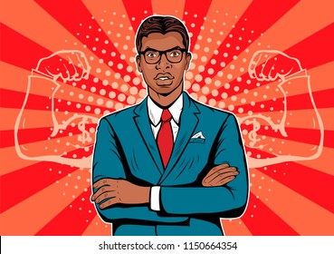 Afro american Man with muscles currency dollar pop art retro style. Strong Businessman in glasses in comic style. Success concept vector illustration.