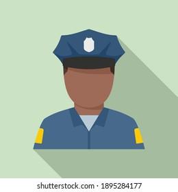 Afro american policeman icon. Flat illustration of afro american policeman vector icon for web design
