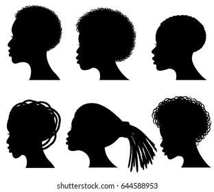 Afro american young woman face vector black silhouettes.