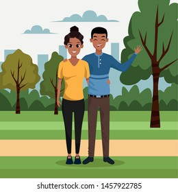 Afro Boyfriend and girlfriend smiling in the city park scenery cartoon ,vector illustration.