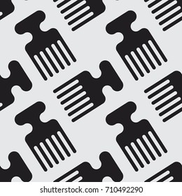 Afro comb vector illustration seamless pattern. Stylish texture background for print, textile, web, or any  use.