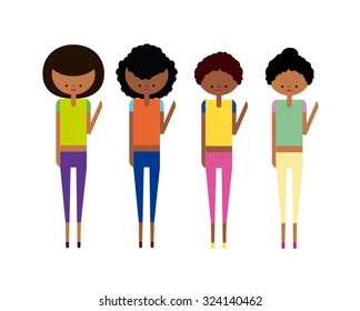 Afro Girls Set Vector