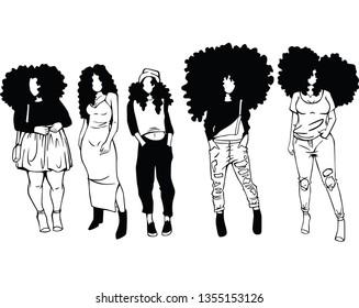 Vector girl afro black Black woman