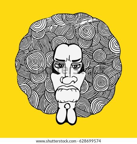 afro hair man drawing afro hair man stock vector royalty free