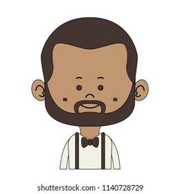 Afro midget hipster cartoon