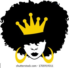 Afro queen, black girl with crown, afro woman, Beauty and fashion african girl.
