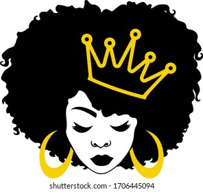 Afro queen, black woman, african-american, afro woman, cute