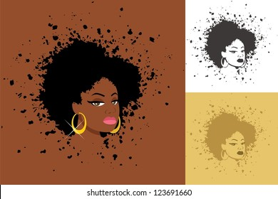 Afro: Sexy lady with abstract Afro hairstyle. The illustration is in 3 versions. No transparency and gradients used.