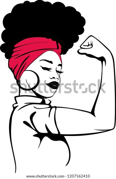 foto de Afro Strong Woman Stock Vector (Royalty Free) 1207562410