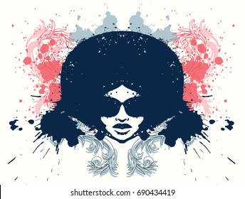 Afro style women head with grunge effects. Vector illustration.