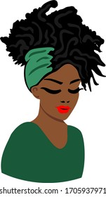 Afro woman, black girl, green headband, african, cute queen, red lips