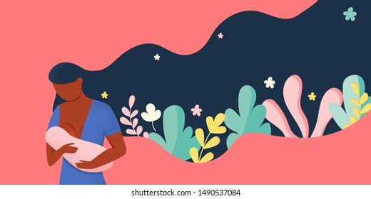 Afro woman breastfeeding her newborn baby holding and nursing in hands. Tropical leaves, flowers. Breast feeding week banner, happy mother day greeting card. Child drinks milk from the female breast