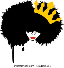 Afro woman with crown, Red lips vector