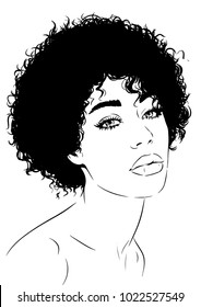 Afro woman with curly hair