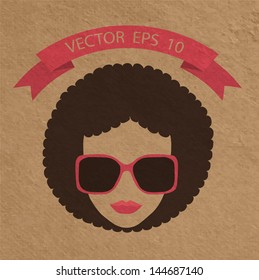Afro woman with glasses in different styles, Vector illustration template design