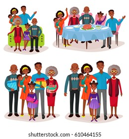 Afro-american or aframerican family portraits, set of isolated relatives at holiday or celebration with gifts or presents, sitting on sofa and having dinner at table with turkey. Childhood and people