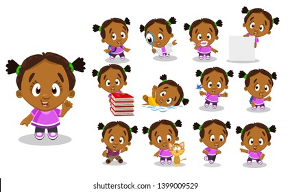 Afro-american girl in pink t-shirt, trousers. Kid in different poses and situations: plays, learns, swims. Full length front and three quater view. Ready to use cartoon vector set isolated on white.