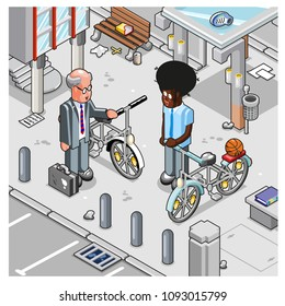 Afro-american man and caucasian man meet on sidewalk with bicycles. City architecture in background (isometric view)